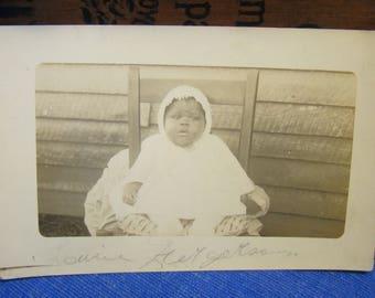 Vintage Postcard Black Americana Baby Girl Louise Ferguson Early 1900s Georgia Real Photo