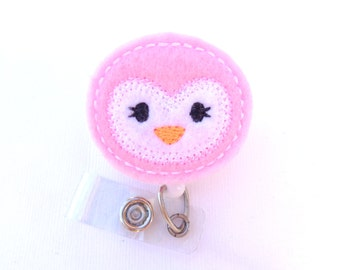 SALE - Cute Badge Holder Retractable - Penguin face light pink felt - nurse badge reel medical staff badge holder