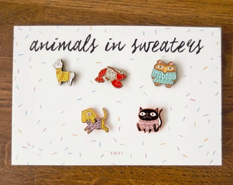 Animals in Sweaters Enamel Pin Set of 5