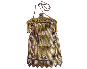 1920s Whiting and Davis Gold Toned Enamel Mesh Purse