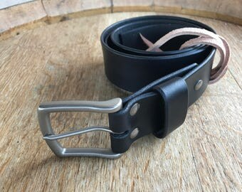 "1.75"" Extra wide Men's Leather Belt with solid brass buckle, full grain leather belt"