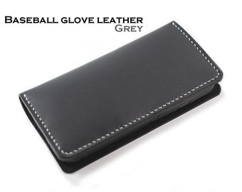 DARK GREY Baseball Glove Leather Wallets for ANDROID Smart Phones (Free Personalization)