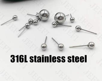 Wholesale 100 Stud Earrings- Surgical Steel Hypo-Allergenic Post Earring W/ 2mm/ 3mm/ 4mm/ 5mm/ 6mm/ 7mm/ 8mm/ 10mm Ball