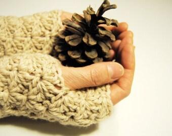 Cream fingerless gloves, crocheted, handmade, ready to ship