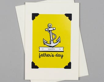 """Handmade Father's Day Card """"Happy Father's Day"""" in Vintage Style with Anchor Illustration"""
