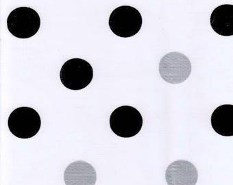 Round Big Dot Black Oilcloth Tablecloth