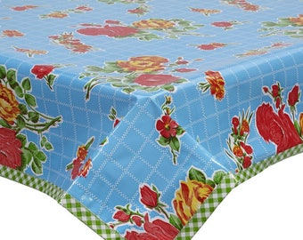 Square Oilcloth Tablecloth Rose and Grid Blue with Lime Trim