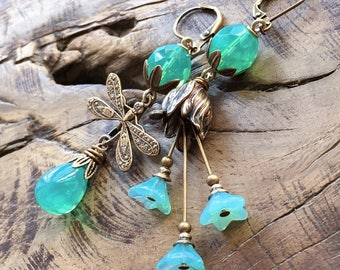 Small Dragonfly earrings, mismatched earrings, green turquoise opal, seafoam green, antique brass, woodland, garden, romantic