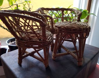 Vintage Wicker Doll Furniture Miniature