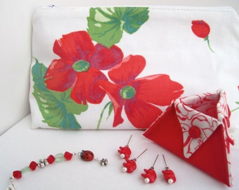 Poppy Sewing Embroidery Gift Set Repurposed Vintage