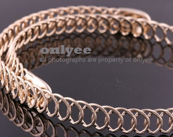 2PCS-10mm Free Size Bright Gold Plated Brass Chain Blank Collar choker Necklaces,Wire Chain (E371G)