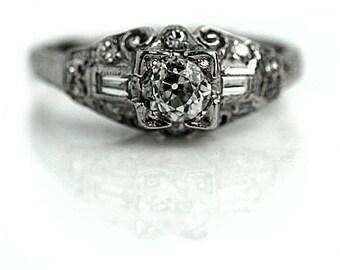 Art Deco Engagement Ring Edwardian Engagement Ring Old 1.21ctw European Cut Diamond Filigree Platinum Antique Diamond Ring Conflict Free!