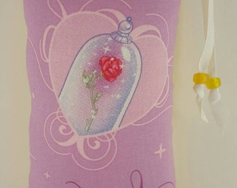 Hand Pipe Sized, Medium Sized, Padded, The Enchanted Rose, Beauty and the Beast,  Print, Cute Bag, Glass Pipe Bag, Padded, Pipe Bag, Pouch