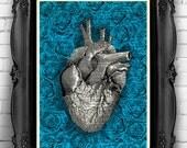 Heart Human Anatomy Art Print BLUE Rose Roses Flowers, Human heart Dictionary Art Print anatomy heart poster Wall Decor Cool Bedroom Art 025