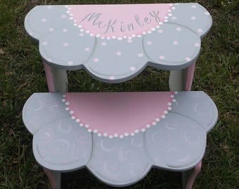 Pink Grey, Childrens, Kids, Flower daisy, Step stool, Benches, Personalized, Baby Gift, Bathroom Stool, Pet stairs,