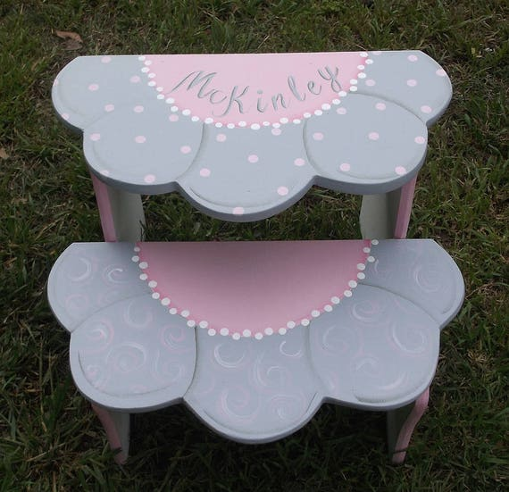 Pink grey childrens kids flower daisy step stool benches like this item negle Image collections