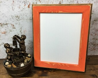 8 x 10 Picture Frame, Orange Weathered Style With Routed Edges, Wooden Frame, Home Decor, Rustic Wood Frames, Rustic Home Decor, Rustic