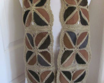 "Retro Vintage Leather Crocheted Handmade Scarf // 7"" x 62"" Long"