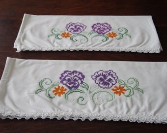 Pillowcase Pair Hand Embroidered Pansies Cotton Vintage