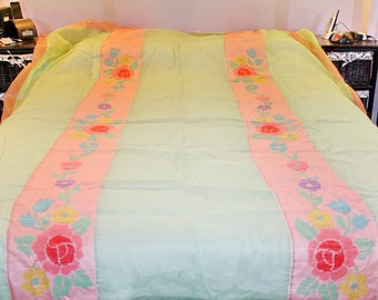 Antique Embroidered Bedspread Sheer Organdy NEVER USED Bucilla 1930s