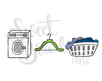 Laundry // Hand-Drawn Planner Stickers