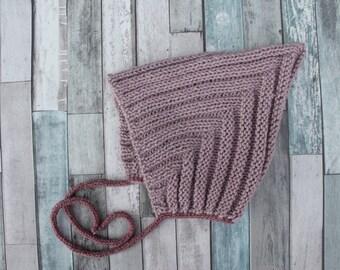 Hand Knit Wool Baby Pixie Bonnet. Purple Baby Bonnet. Baby Girl Hat. Knit Baby Wool Hat. Retpo Baby Bonnet.