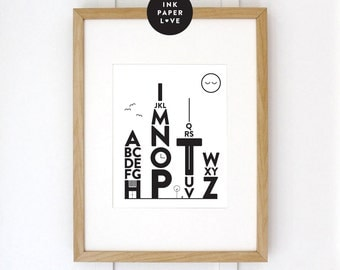 Modern Alphabet City Art Print, perfect for the modern kids bedroom.