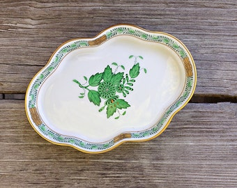 Herend Scalloped Tray Hand Painted Porcelain Trinket Dish Tray Green Chinese Bouquet