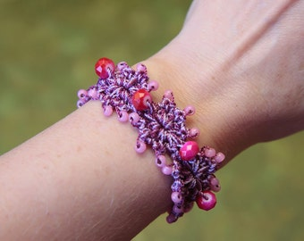 Crochet Jewelry Pattern, Thread Crochet Pattern, Crochet Bracelet Tutorial, Beaded Bracelet Pattern (68)