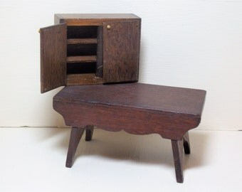 Wood Dollhouse Furniture Table Cabinet