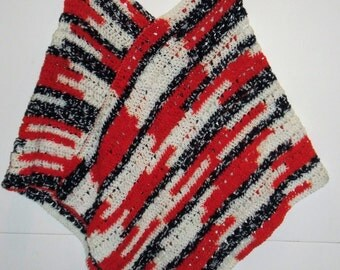 Red, white, and blue crocheted poncho