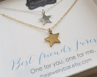 best friend gift, lucky star necklaces, set of 2 one for me one for you, gold silver bff matching charm, friendship