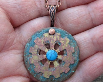 Turquoise Steam Punk Mixed Metal Pendant