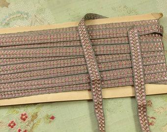 "7 yard card antique vintage passementerie art deco braid rayon cotton trim gray pink taupe passementerie trim 9/16"""