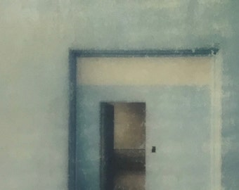 encaustic on Handmade Cast Adobe Tile - Blue Walls