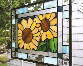 """Summer Sunflowers Double Border--17.5"""" x 13.5""""--Stained Glass Window Panel"""