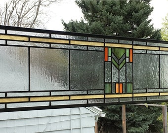 "Prairie School Style Transom Panel --8"" x 33"" -  Stained Glass Panel"