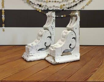 Corbels, Architectural Salvage Corbels, White, Pair, Antique Corbels, Joanna Gaines, Fixer Upper, Magnolia Market, Magnolia B&B