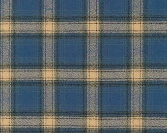 Blue Black and Tan Pacific Robert Kaufman Mammoth Plaid Flannel, 1 Yard