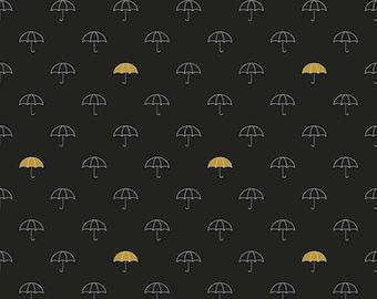 Black White and Gold Metallic Umbrella Fabric, When Skies Are Grey by Simple Simon & Company for Riley Blake, Skies Mainin Black, 1 Yard