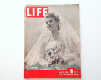 1940s Life Magazine...complete issue June 22, 1942 War Stamp Bride World War II Victory at Midway Anglo-Soviet Treaty Army Supply Hawaii