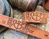 hope is my anchor (Hebrews 6:19) leather cuff (camel/natural)