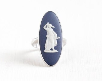 Sale - Vintage Wedgwood Sterling Silver Blue Cameo Ring - Size 5 1/2 Blue Jasperware London England 1975 Navette Goddess Statement Jewelry
