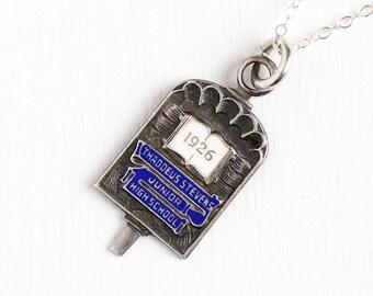 Sale - Vintage Sterling Silver 1926 School Award Pendant Key Fob - Art Deco Blue Enamel Thaddeus Stevens Junior High School Necklace Jewelry