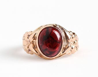 Antique 10k Rose Gold Garnet Cabochon Ring - Vintage Edwardian Art Nouveau Size 5 1/2 Red Gemstone Early 1900s Fine Jewelry
