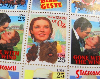 Wizard of Oz Full Sheet of 40 UNused Vintage US Postage Stamps 25c Gone With The Wind Beau Geste Stagecoach Save the Date Wedding Postage