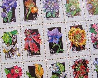 Wildflowers Full Sheet of 50 UNused Vintage US Postage Stamps 29c 1992 Floral Bouquet Lily Poppy Valentine's Save the Date Wedding Postage