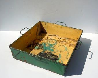 Vintage Painted Metal Bin with Handles / Industrial Metal Tray / Metal Tool Bin / Vintage Green Metal Tray / Heavy Metal Bin / Garden Tray