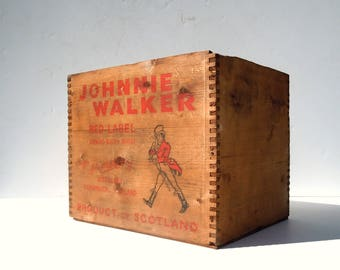 Vintage Printed Wood Crate / Johnnie Walker Red Label / Old Wood Liquor Crate / Storage Organization / Old Shipping Crate