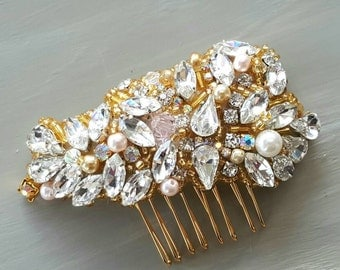 Bridal Gold and Blush hair comb,Gold and blush headpiece,One of a Kind heirloom blush and gold hair comb, Blush Swaorivski crystals comb